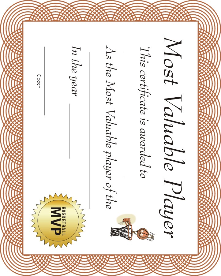 Free printable sports certificate mvp basketball award free printable sports certificate basketball mvp yadclub Images