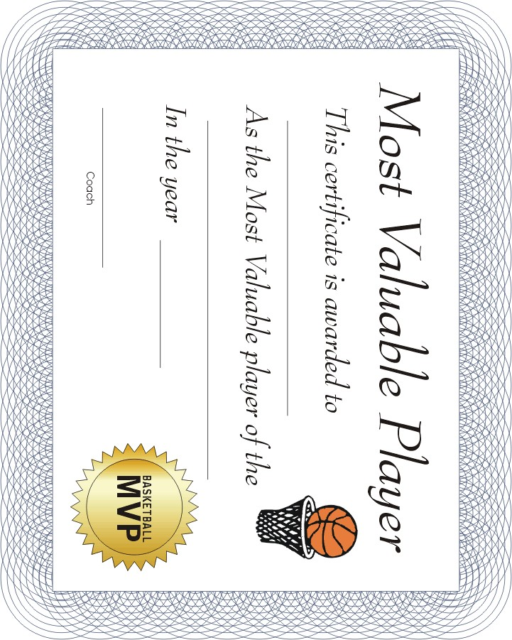 Free Printable Sports Certificate | Mvp Basketball Award | Brown