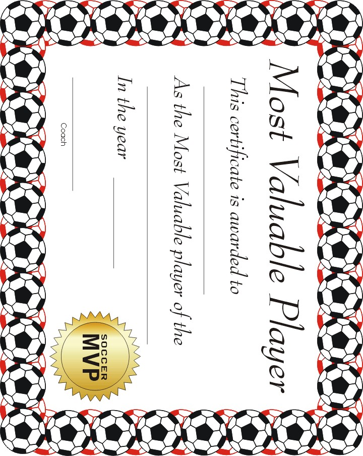graphic about Printable Soccer Certificates identified as Absolutely free printable sports activities certification MVP Football certification #1
