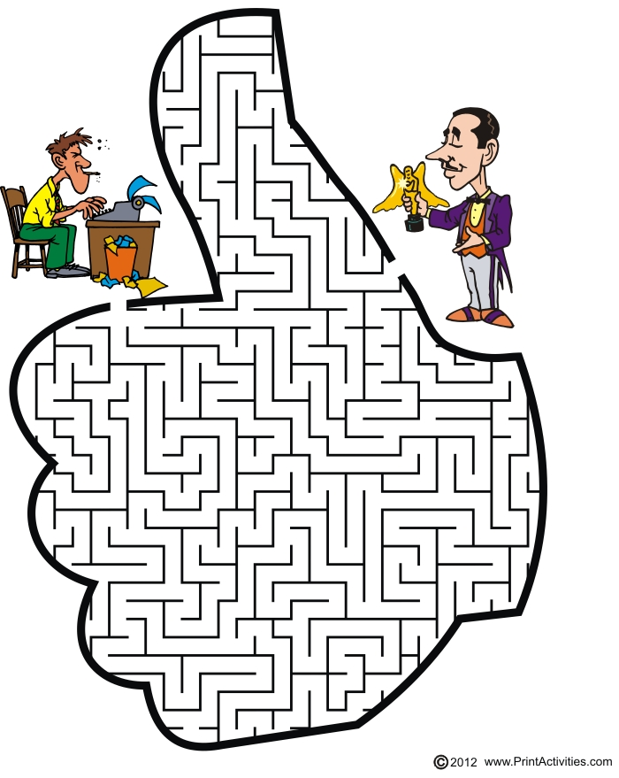 Thumb up shaped maze. Guide the screenwriter to his award.